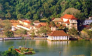 City of Kandy with the lake in the foreground