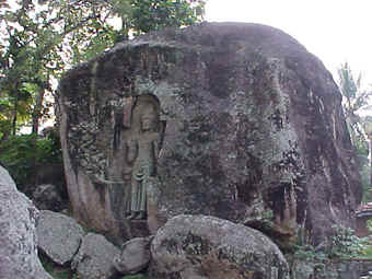 Famous rock carving at Kustarajagala, Weligma